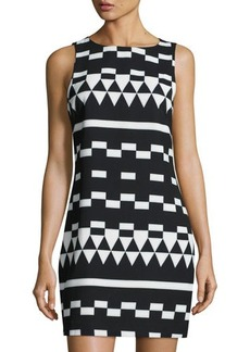 Nicole Miller Artelier Geometric-Print Sleeveless Shift Dress