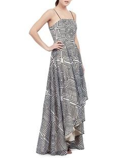 Nicole Miller Geometrical Hi-Lo Gown