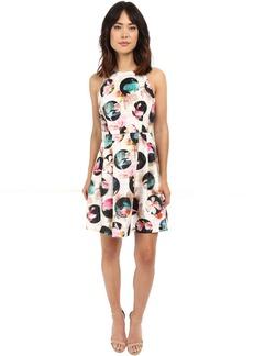 Nicole Miller Gwen 3D Flower Dot Flare Dress