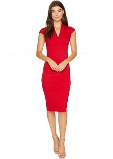 Nicole Miller Hadley Ponte Cap Sleeve V-Neck Dress
