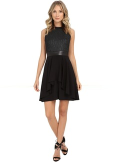 Nicole Miller Katrina Fit n' Flare Leather Combo Dress