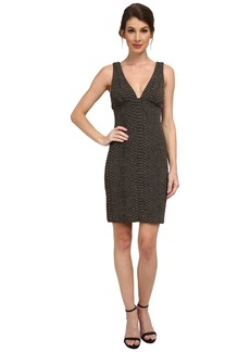 Nicole Miller Knit Scales Plunging Gold Party Dress