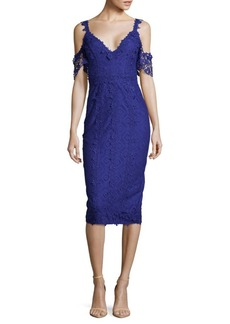 Nicole Miller Lace Cold-Shoulder Dress