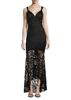Nicole Miller Lace High-Low Mermaid Gown