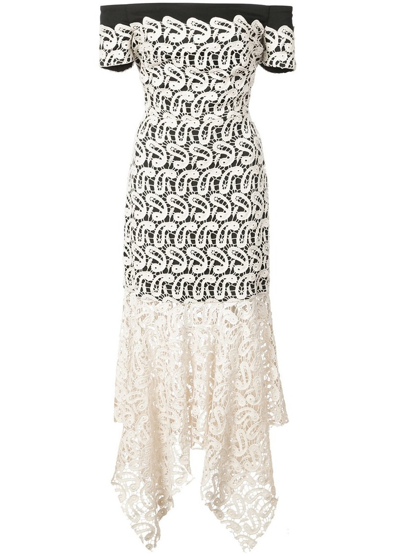 Nicole Miller lace layered strapless dress