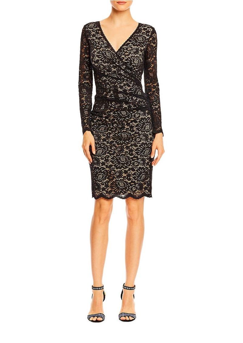 NICOLE MILLER Lace Long Sleeve Sheath Dress