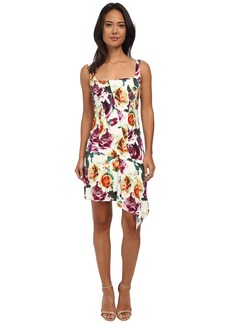 Nicole Miller Leafly Drape Silk Rosa Dress