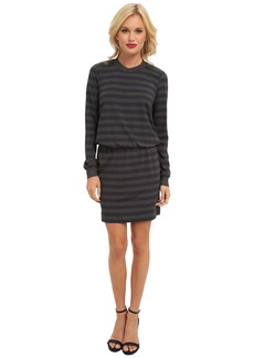Nicole Miller Leather Shoulder Stripe Dress