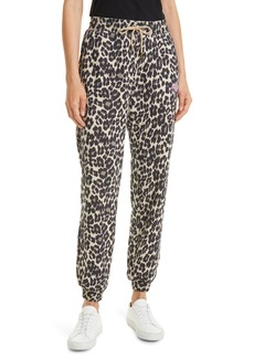 Nicole Miller Leopard Print Stretch Cotton French Terry Joggers