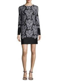 Nicole Miller Long-Sleeve Lace-Print Sheath Dress