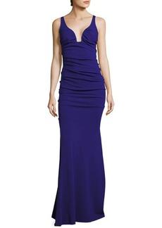 Nicole Miller Low Neck Crepe Evening Gown
