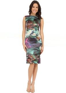 Nicole Miller Metal Motion Blur Midi Dress