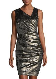 Nicole Miller Metallic Velvet Sheath Dress
