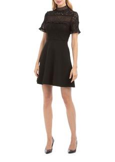 Nicole Miller Mock Neck Fit-&-Flare Dress