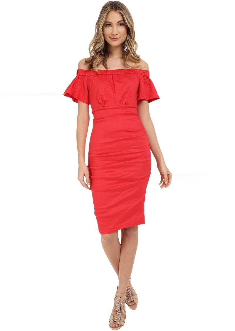 Nicole Miller Natalia Off-Shoulder Cotton Metal Dress