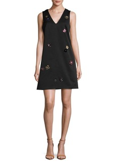 Nicole Miller 3D Floral Applique A-Line Dress