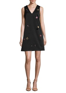 Nicole Miller New York 3D Floral Applique A-Line Dress