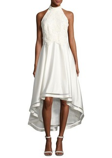 Nicole Miller New York 3D-Lace High-Low Dress