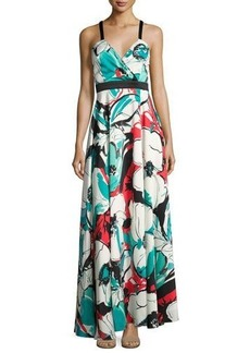 Nicole Miller New York Banded-Waist Floral-Print Maxi Gown