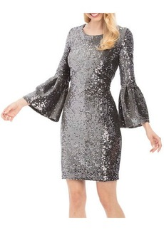 Nicole Miller New York Bell-Sleeve Sequin Sheath Dress