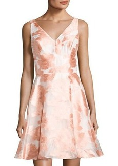 Nicole Miller New York Bustle-Back Floral-Print Cocktail Dress