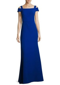 Nicole Miller New York Cold-Shoulder Crepe Gown