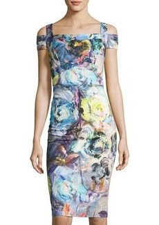 Nicole Miller New York Cold-Shoulder Floral-Print Seamed Dress