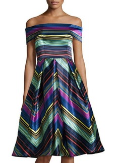 Nicole Miller New York Cold-Shoulder Striped Cocktail Dress