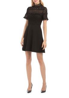 Nicole Miller New York Mock Neck Fit-&-Flare Dress