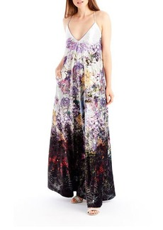 Nicole Miller New York Crushed Velvet Floral-Print Maxi Dress