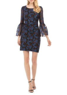 Nicole Miller New York Embroidered Bell-Sleeve Sheath Dress