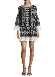 Nicole Miller New York Embroidered Bell-Sleeve Shift Dress