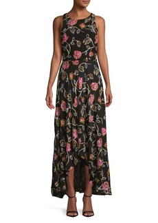 Nicole Miller New York Embroidered Floral Maxi Dress