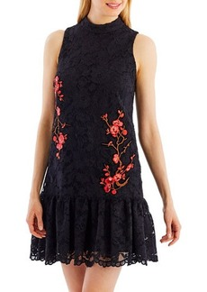 Nicole Miller New York Embroidered-Lace Mock-Neck Dress