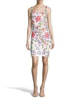 Nicole Miller New York Embroidered Mesh Sleeveless Mini Dress