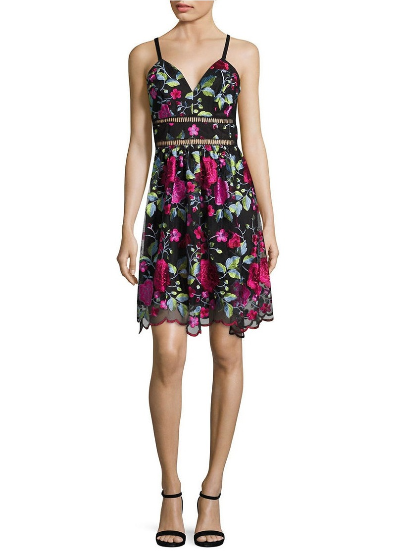 New York Embroidered Scalloped Dress Nicole Miller