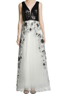Nicole Miller New York Embroidered-Skirt Sleeveless Gown