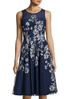 Nicole Miller New York Embroidered-Tulle Sleeveless Cocktail Dress