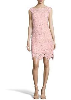 Nicole Miller New York Floral-Appliqué Illusion Sheath Dress
