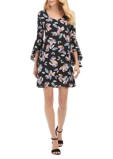 Nicole Miller New York Floral Bell-Sleeve Shift Dress