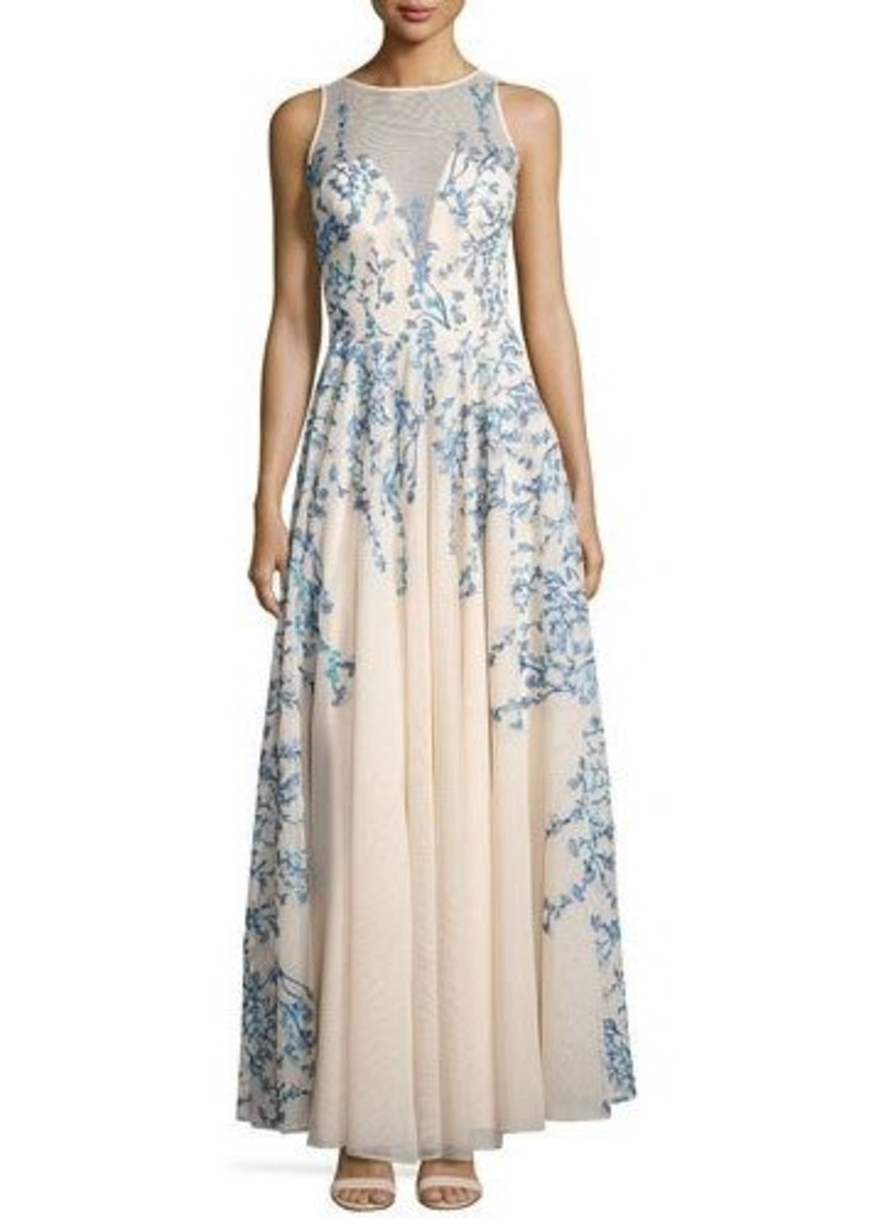 Nicole Miller New York Floral-Embroidered Sleeveless Gown