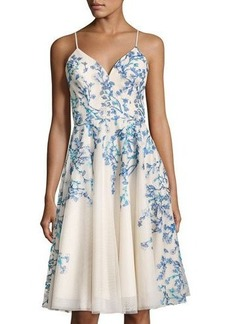 Nicole Miller New York Floral-Embroidery A-line Dress