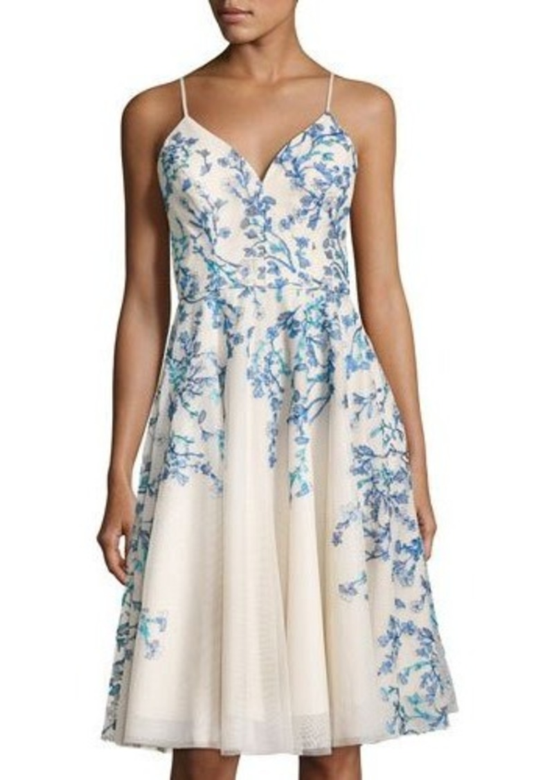 Nicole Miller New York Fl Embroidery A Line Dress