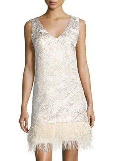 Nicole Miller New York Floral Jacquard Cocktail Dress w/Faux-Feather Hem