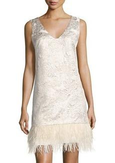 Nicole Miller New York Floral Jacquard Cocktail Dress w/Faux-Feather Hem
