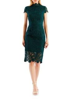 Nicole Miller New York Floral Lace Sheath Dress