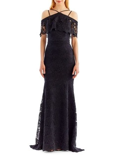 Nicole Miller New York Floral Lace Trumpet Gown