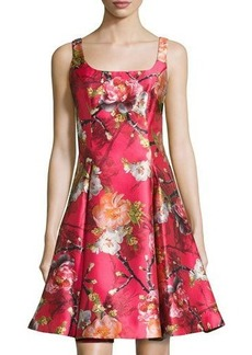 Nicole Miller New York Floral-Print Satin Fit & Flare Dress