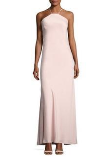 Nicole Miller New York Halter-Neck Crepe Gown