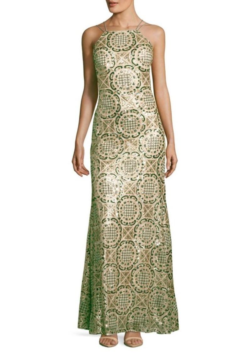 SALE! Nicole Miller Nicole Miller New York Halterneck Sequined Gown